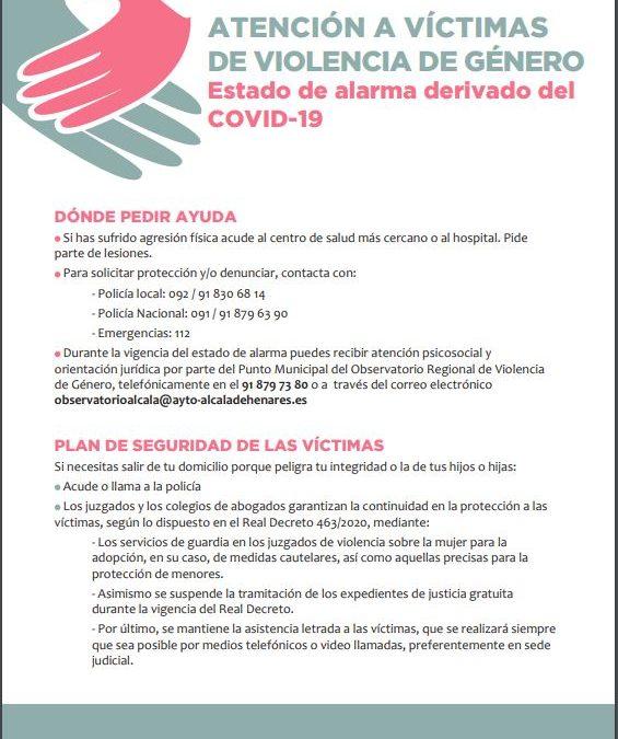 Atención a víctimas de violencia de género durante el estado de alarma